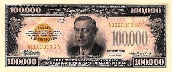 Một trong số các tờ bạc được in ra chính là tờ 100.000 USD với khuôn mặt  của Woodrow Wilson (cựu Tổng thống Mỹ từ năm 1913 đến 1921)